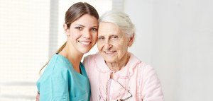 Caregiver and Senior in home care
