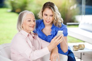 Senior woman with in home caregiver Dallas TX