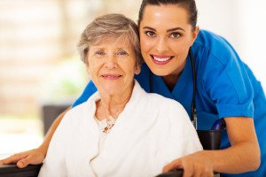 Senior woman with in home caregiver